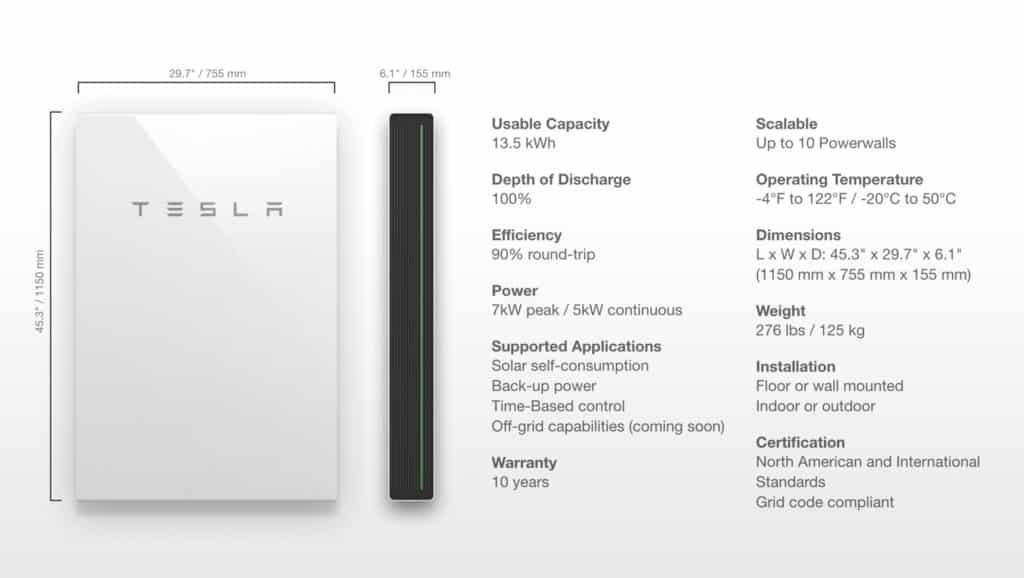 Tesla-Powerwall-Specifications